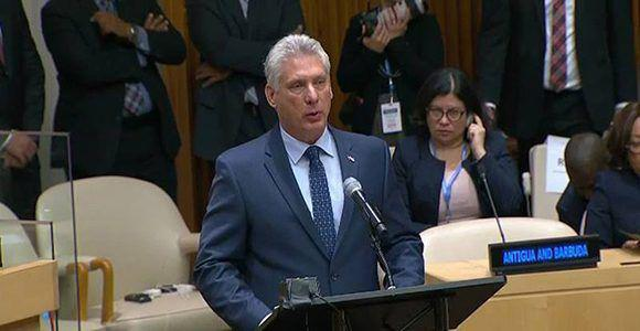 President Miguel Díaz-Canel Bermúdez addresses the UN General Assembly