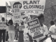 Workers disrupt the National Conference of Governors in Traverse City, MI, to demand a moratorium on plant closings. (1987)