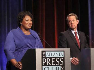 Georgia gubernatorial candidates Democrat Stacey Abrams and Republican Brian Kemp debate in an event in Atlanta, Georgia, on October 23, 2018.