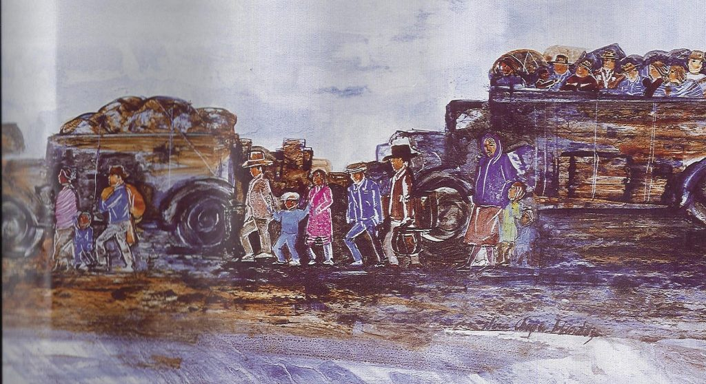 """A section of the painting """"Los Repatriados: Exiles from the Promised Land"""" by Nora Chapa Mendoza depicts Mexican immigrants traveling together in a caravan."""