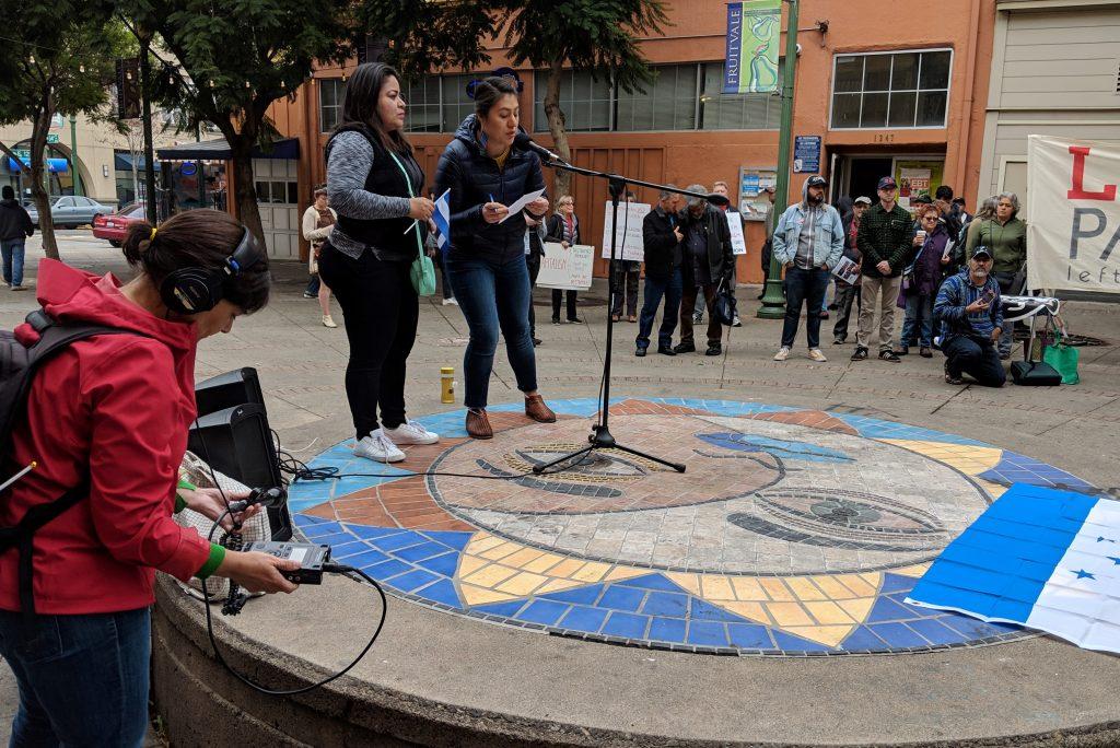 Rally in support of the migrant caravan, organized by Pueblo Sin Fronteras in Oakland, CA.