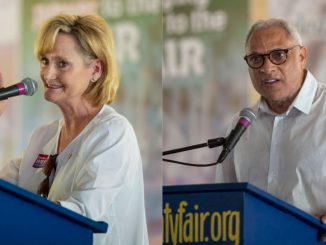 Republican Cindy Hyde-Smith and Democrat Mike Espy make speeches at the Neshoba County Fair on August 2 during the Mississippi gubernatorial race
