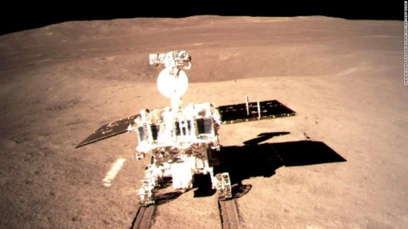 A Chinese lunar rover makes its way around the far side of the moon on January 3.