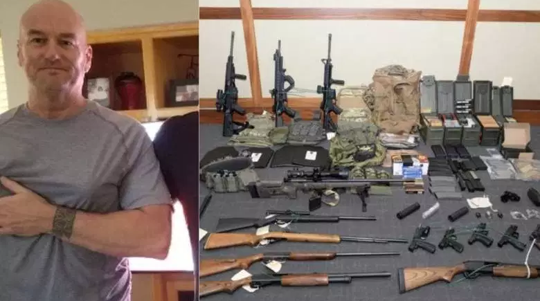 Lt Christopher Hasson of the US Coast Guard with weapons.